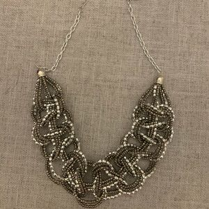 NWT! Woven knot silver beaded bib necklace